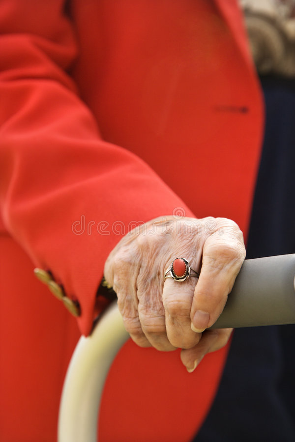 Download Elderly Woman's Hand On Walker. Stock Photo - Image: 2037460