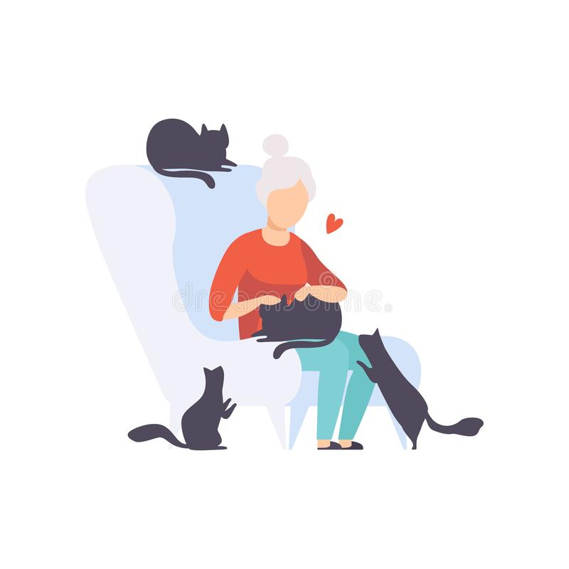 Elderly woman sitting in armchair surrounded by black cats, adorable pets and their owner vector Illustration on a white stock illustration