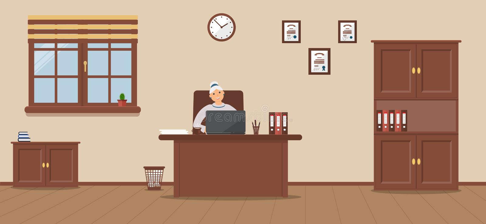 An elderly woman sitting in the workplace in a spacious office on a cream background. Vector illustration.Table, wardrobe, diplomas. It`s snowing outside vector illustration