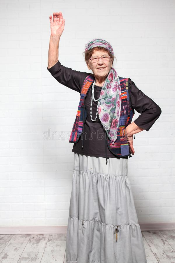 Happy old female stock image