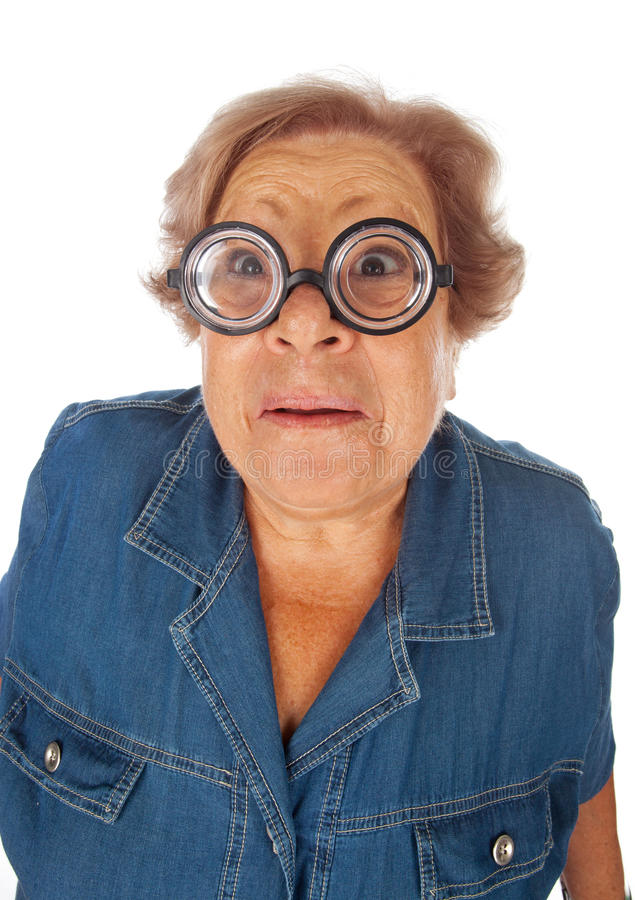 Elderly woman with surprised expression royalty free stock photos