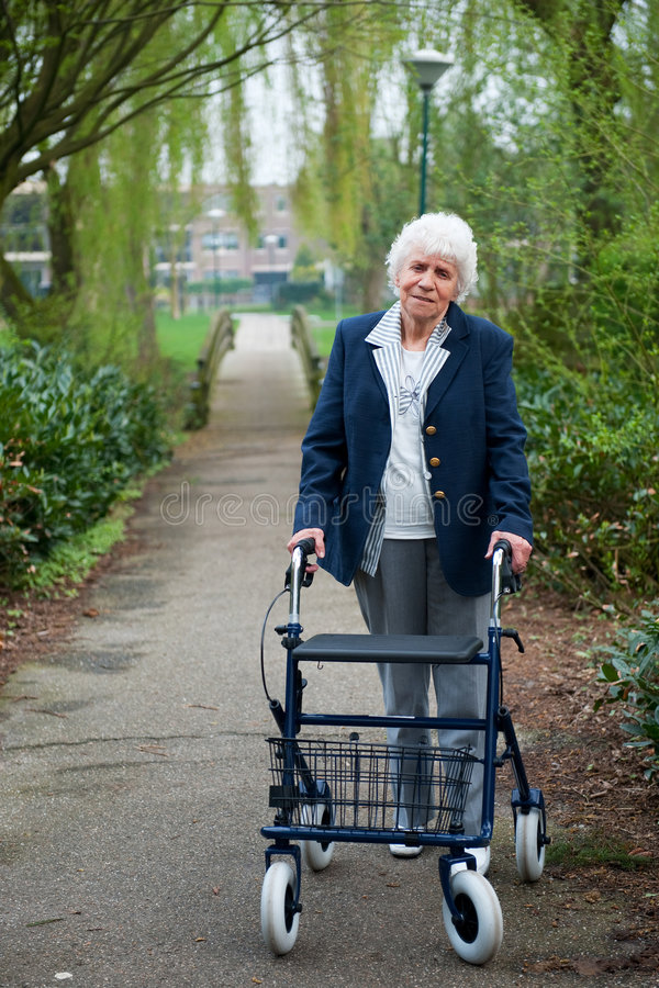 Download Elderly woman with walker stock photo. Image of blue, grey - 8962694