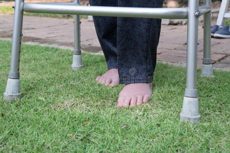 Elderly woman walking barefoot therapy on grass. stock image