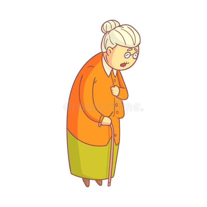 An elderly woman walking with cane. Colorful cartoon character royalty free illustration