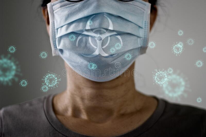 Elderly women wearing virus mask protect of infection and spreading Coronavirus or Covid-19 on pale background royalty free stock photos