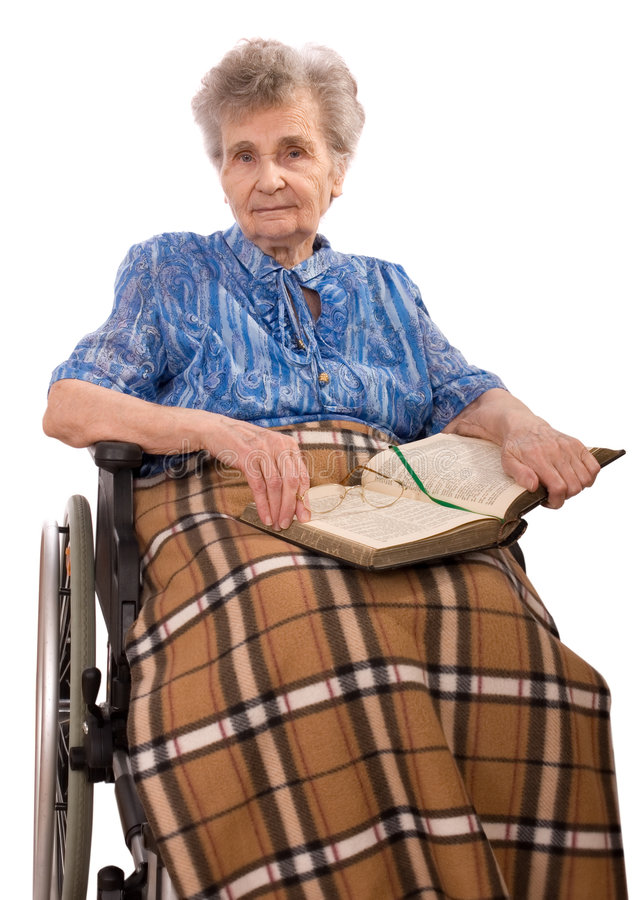 Elderly woman in wheelchair stock photo