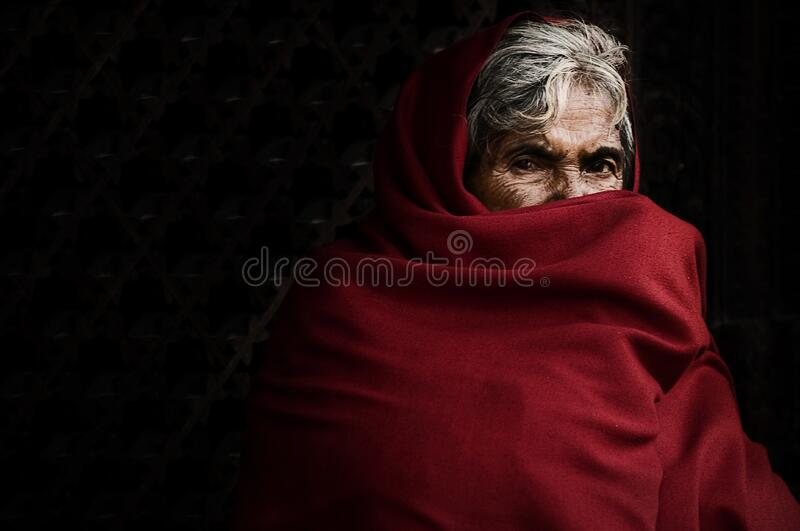 Elderly Woman Wrapped In Scarf Free Public Domain Cc0 Image