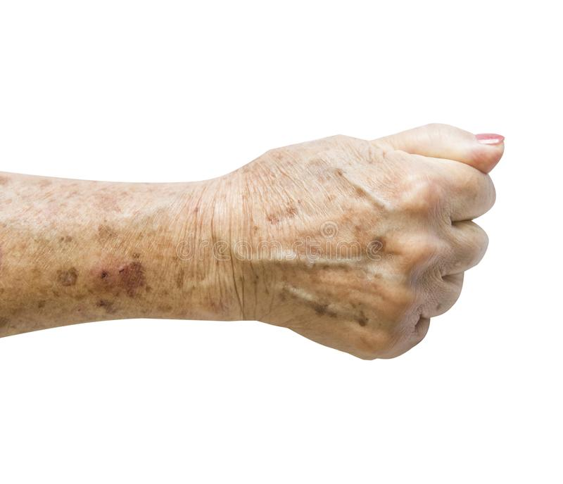 Elderly woman, wrinkled hand palm w/ clearly visible veins reaching out forward royalty free stock photography