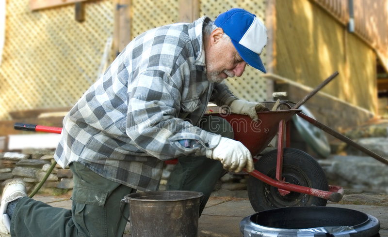 Download Elderly worker stock photo. Image of cement, lifestyle - 1375716
