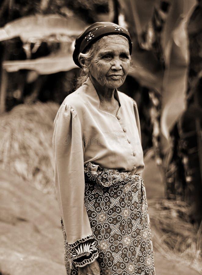 ELDERY妇女画象在印度尼西亚 免版税库存照片