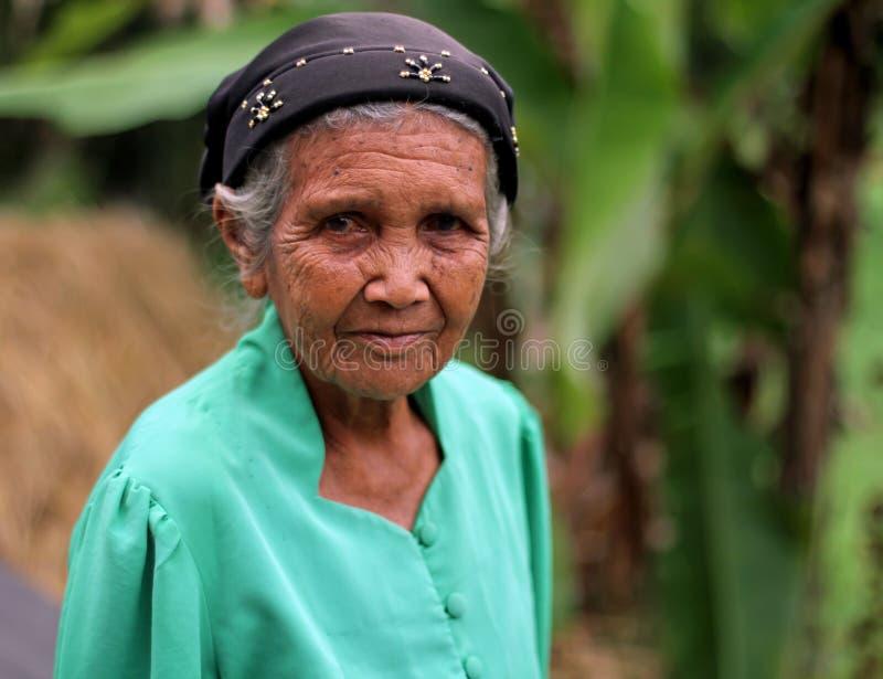 ELDERY妇女画象在印度尼西亚 免版税库存图片