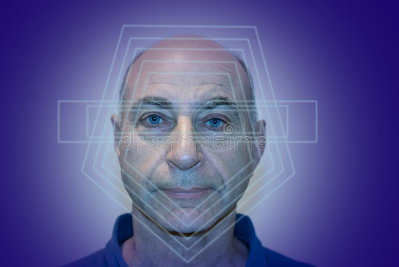 Eldery man face recognition, biometric verification royalty free stock photography