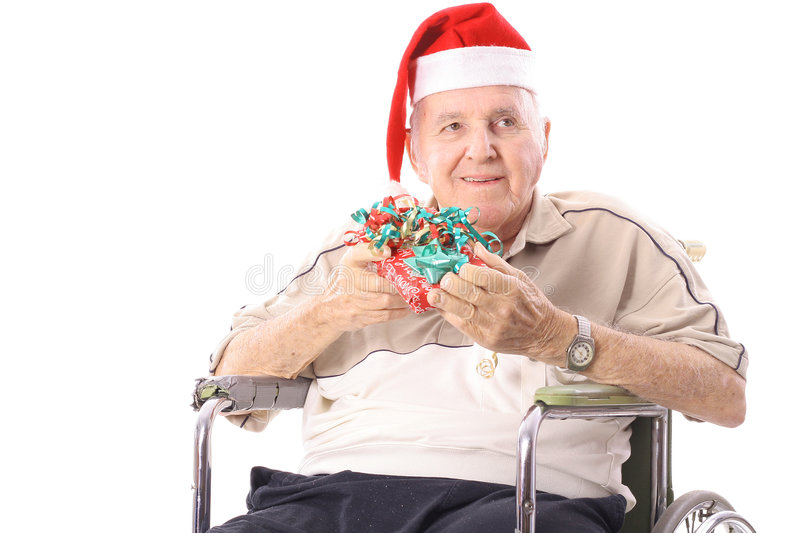Download Eldery Man In Wheelchair Celebrating Christmas Stock Photo - Image of christmas, insurance: 3716390