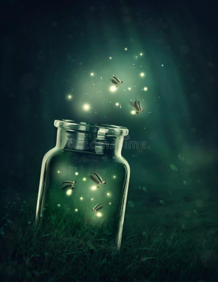 Eldflugor som lämnar exponeringsglaset royaltyfri illustrationer