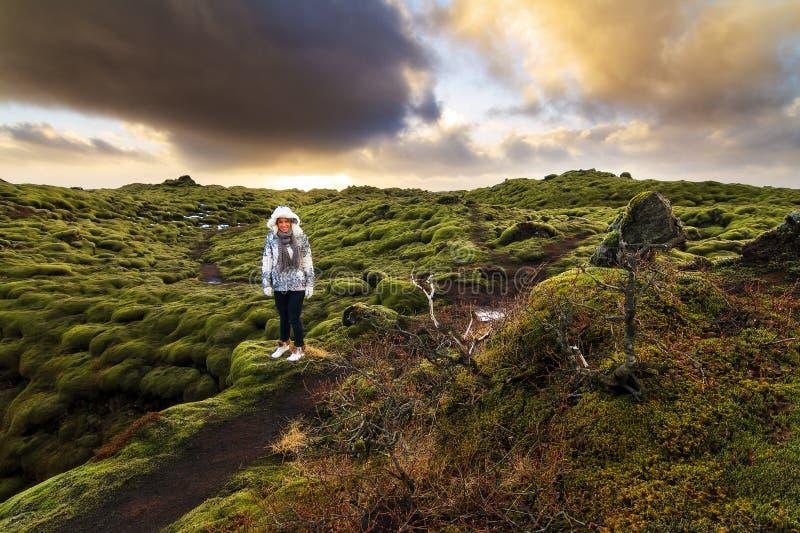 Eldhraun旅游业冰岛 免版税库存图片