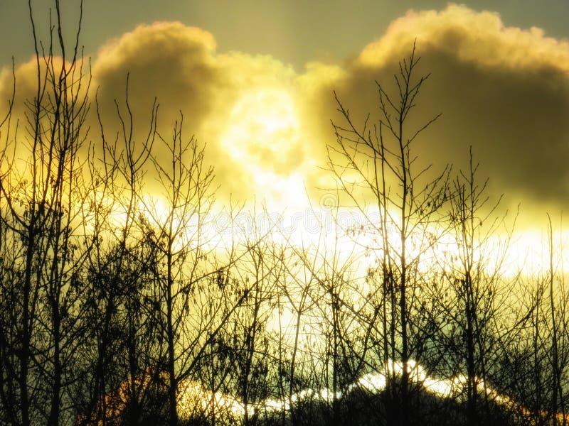 Eldkula i himlen arkivfoton