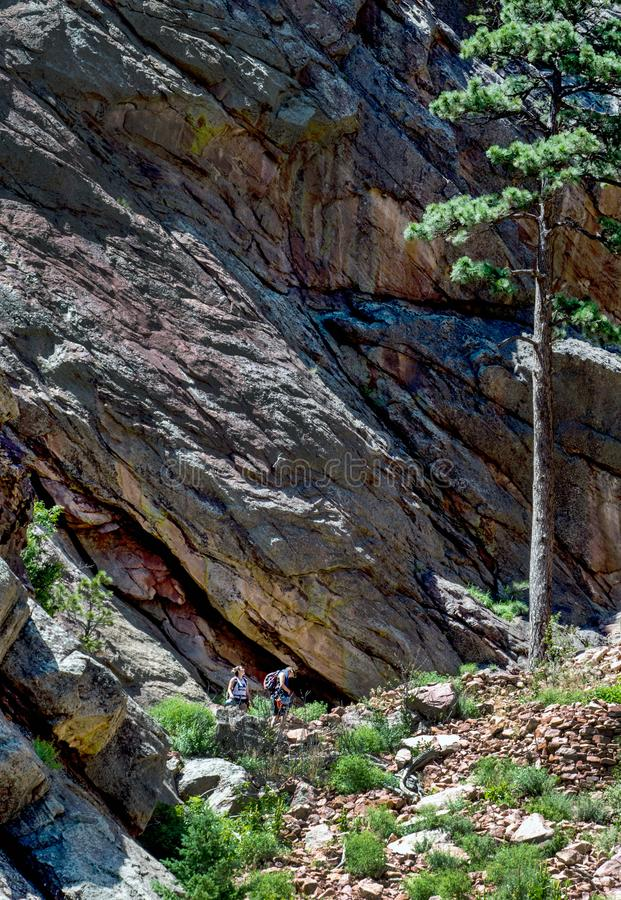 Geological formations in Eldorado Canyon State Park stock photography