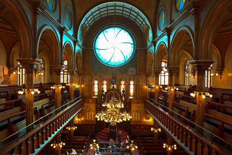 Eldridge Street Jewish Museum and Synagogue,, New York. The 1887 synagogue museum is a National Historic Landmark in the Chinatown area of Lower East Side in stock photo