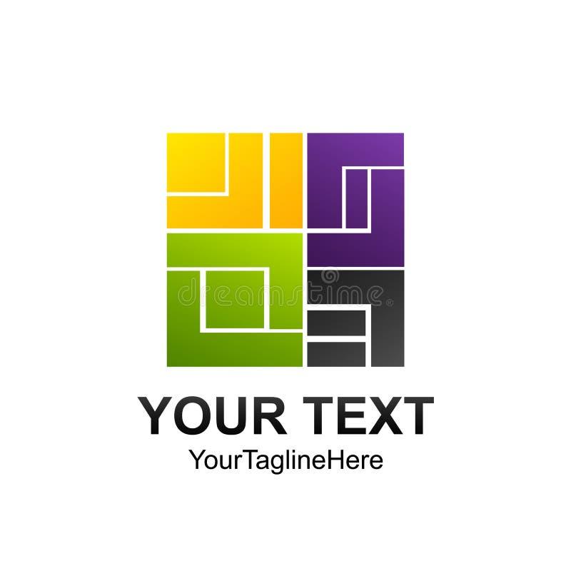 Ele carré abstrait numérique créatif de calibre de conception de logo de vecteur illustration libre de droits