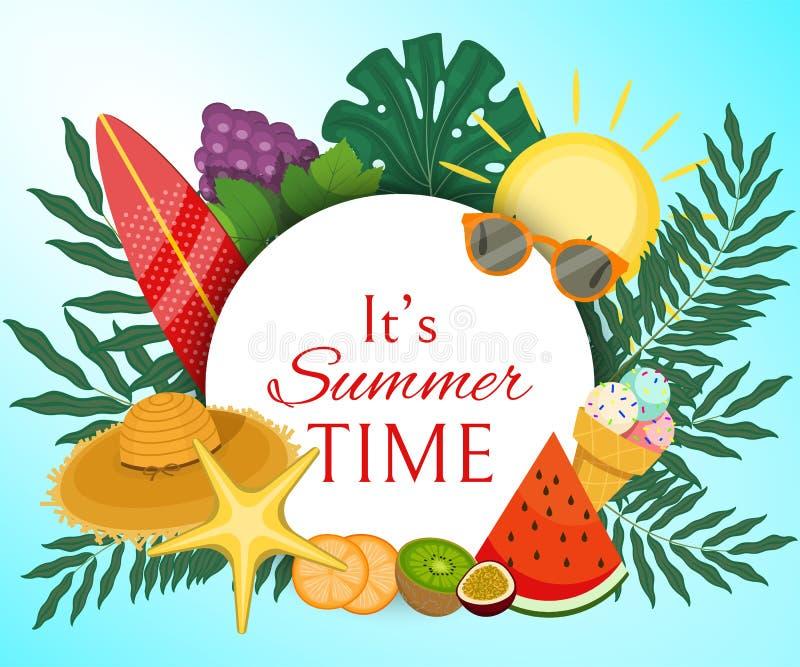 Ele ilustração do vetor da bandeira das horas de verão de s A palmeira sae com o fruto tal como uvas, quivi, fatias de laranja ilustração do vetor