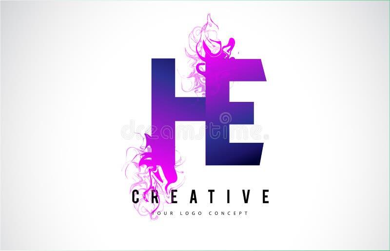 ELE letra roxa Logo Design de H E com fluxo líquido do efeito ilustração stock