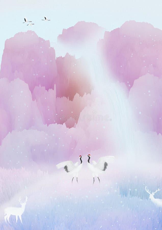 Ele? nevar de s, o guindaste e os cervos estão jogando na neve, os pássaros estão voando no céu ilustração do vetor