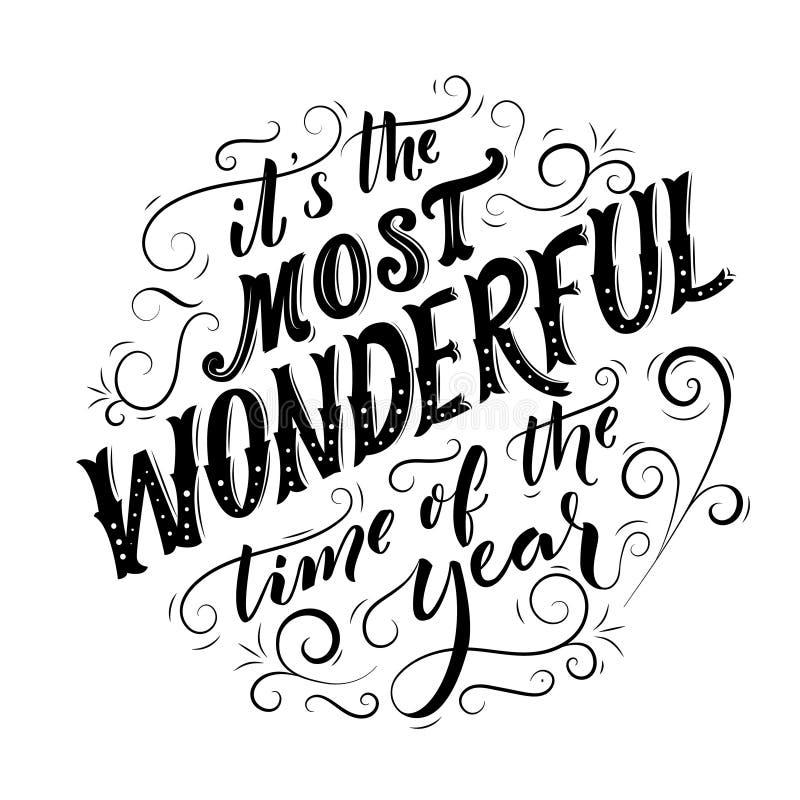 Ele ` s a época a mais maravilhosa do ano Tipografia preta para o projeto de cartões do Natal Rotulação do vintage Preto no branc ilustração royalty free