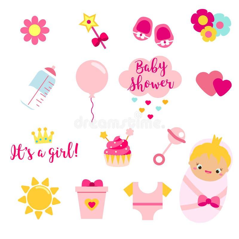 Ele ` s que uma menina se ajustou em cores cor-de-rosa Chocalho, coração, texto e outros ícones do vetor para a festa do bebê e o ilustração do vetor