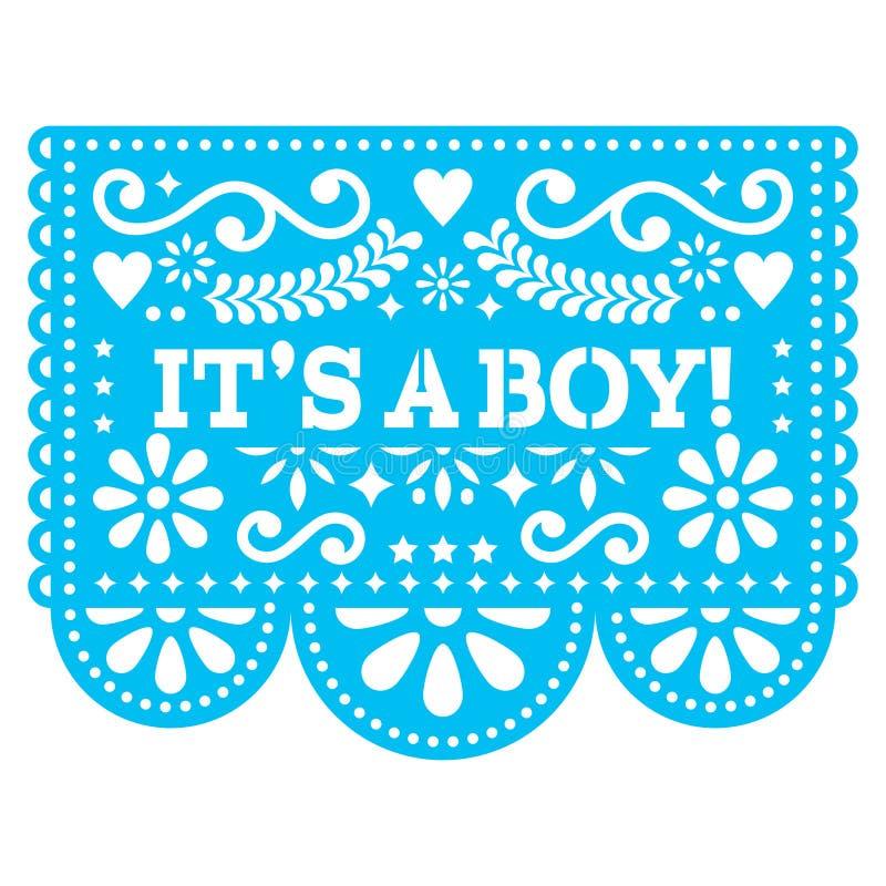 Ele ` s um projeto de Papel Picado do menino - cartão do nascimento do bebê da arte popular ou convite mexicano da festa do bebê  ilustração stock