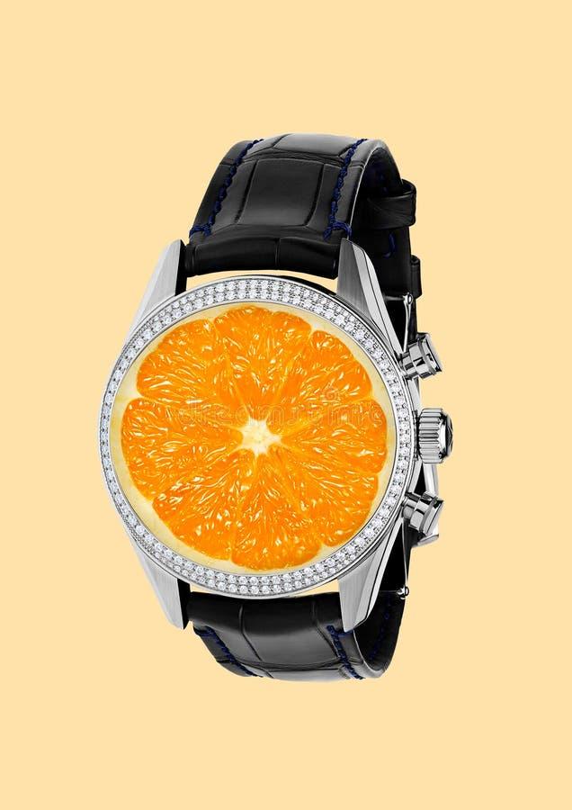 Ele tempo do ` s para vitaminas Projeto moderno Colagem da arte contemporânea foto de stock royalty free