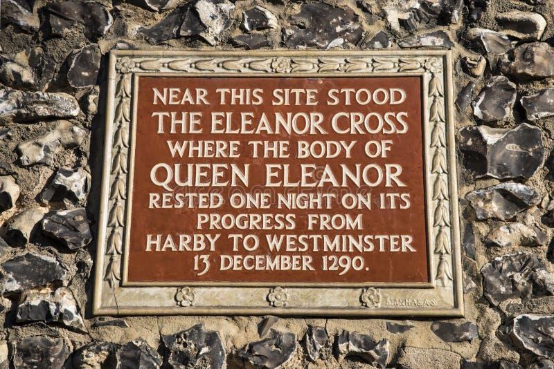 Eleanor Cross Plaque à St Albans photos stock
