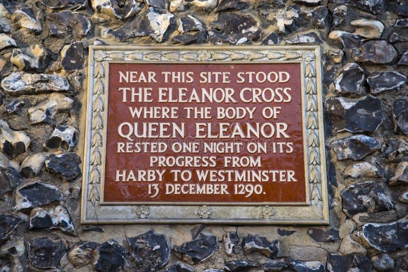 Eleanor Cross Plaque in St Albans royalty-vrije stock foto