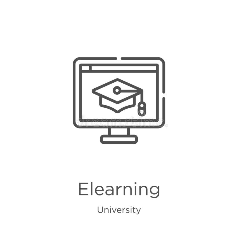 elearning διάνυσμα εικονιδίων από την πανεπιστημιακή συλλογή Λεπτή διανυσματική απεικόνιση εικονιδίων περιλήψεων γραμμών elearnin ελεύθερη απεικόνιση δικαιώματος