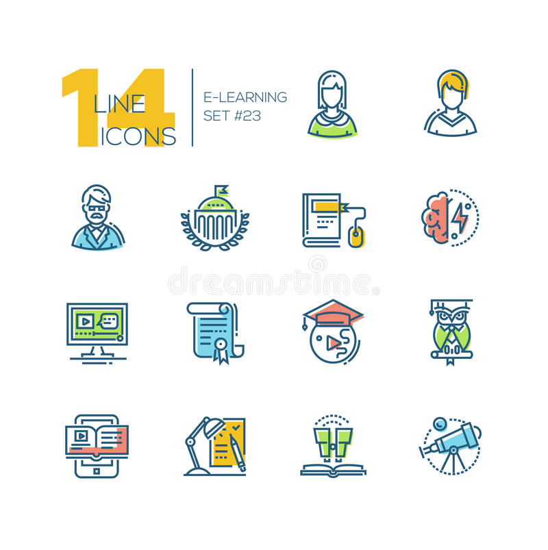 ELearning- colored modern single line icons set vector illustration
