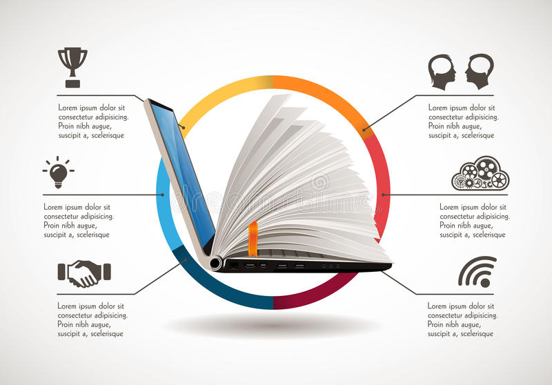 Elearning concept - online learning system royalty free illustration