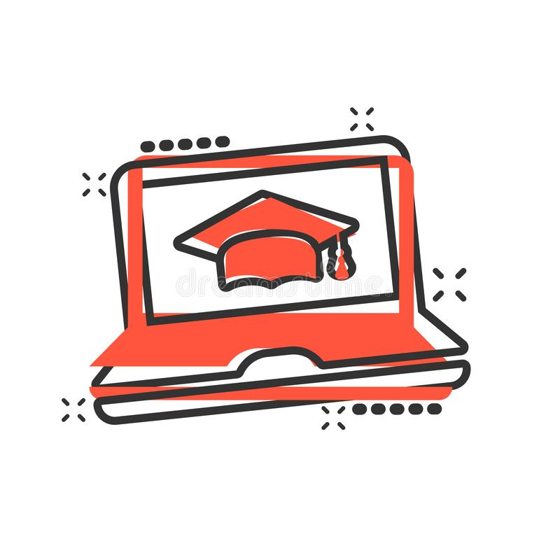 Elearning education icon in comic style. Study vector cartoon illustration pictogram. Laptop computer online training business. Concept splash effect royalty free illustration