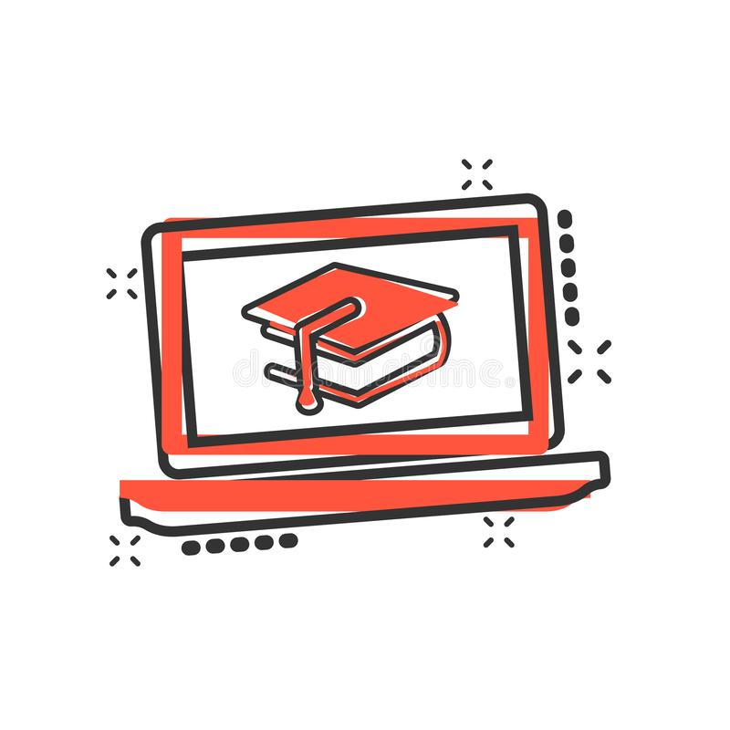 Elearning education icon in comic style. Study vector cartoon illustration pictogram. Laptop computer online training business. Concept splash effect stock illustration