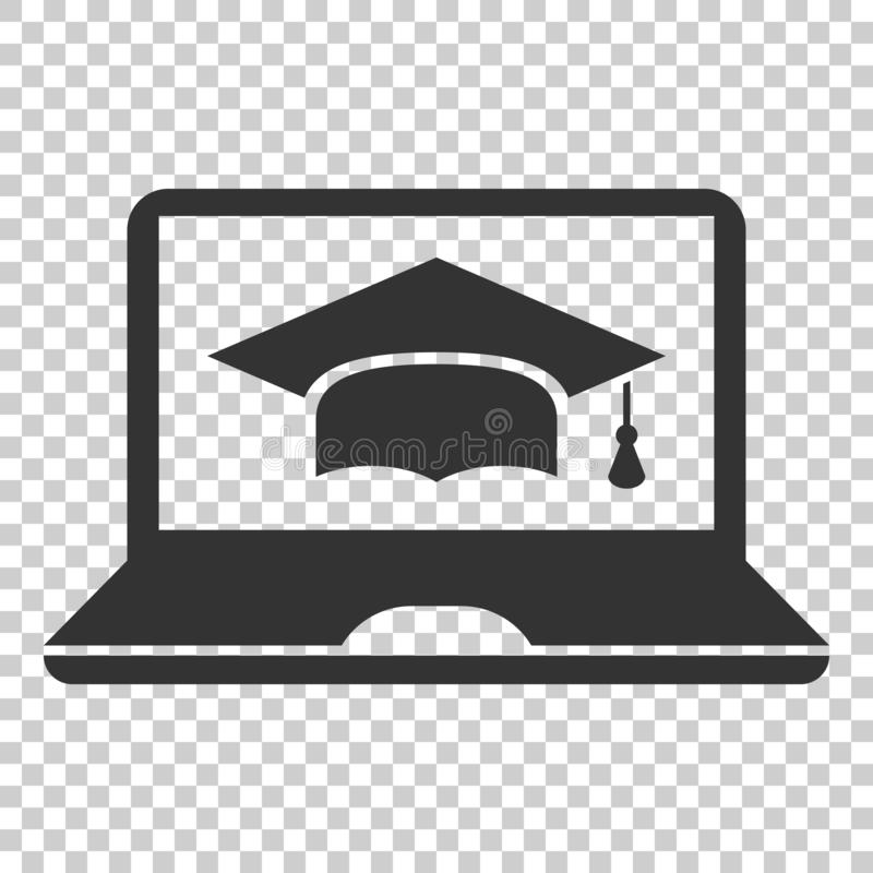 Elearning education icon in flat style. Study vector illustration on isolated background. Laptop computer online training royalty free illustration