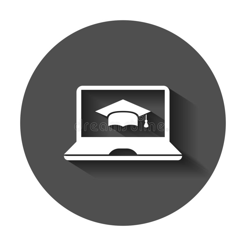Elearning education icon in flat style. Study vector illustration with long shadow. Laptop computer online training business vector illustration