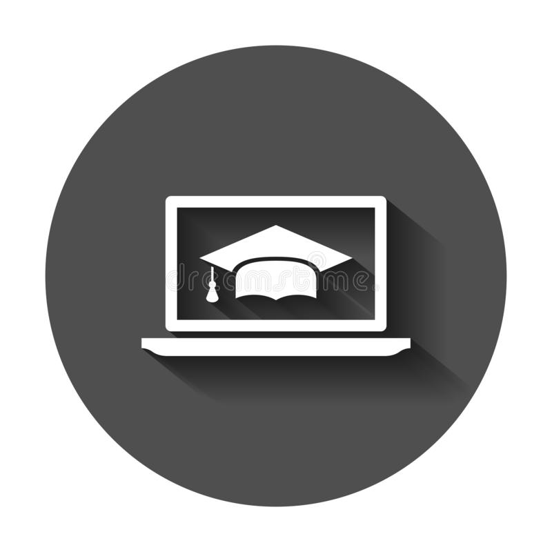 Elearning education icon in flat style. Study vector illustration with long shadow. Laptop computer online training business. Concept vector illustration