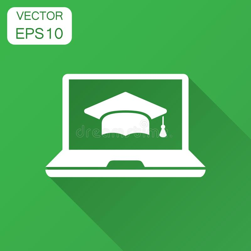 Elearning education icon in flat style. Study vector illustration with long shadow. Laptop computer online training business. Concept stock illustration