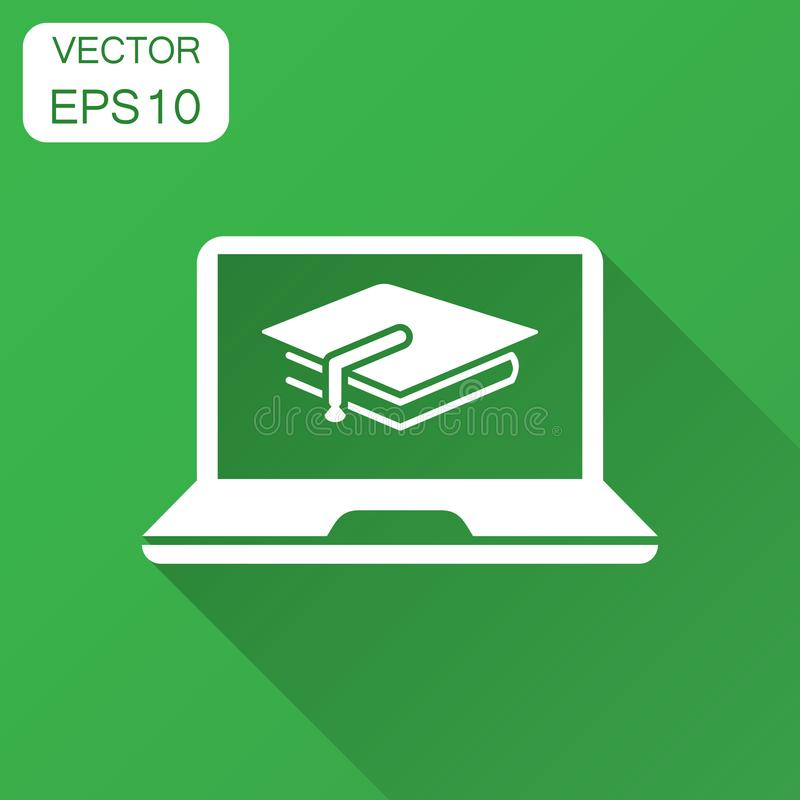 Elearning education icon in flat style. Study vector illustration with long shadow. Laptop computer online training business concept vector illustration