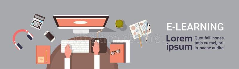 Elearning edukaci Online sztandar Z Studencką ręką Pracuje Na Komputerowym miejsce pracy Odgórnego widoku Horyzontalnym sztandarz ilustracji