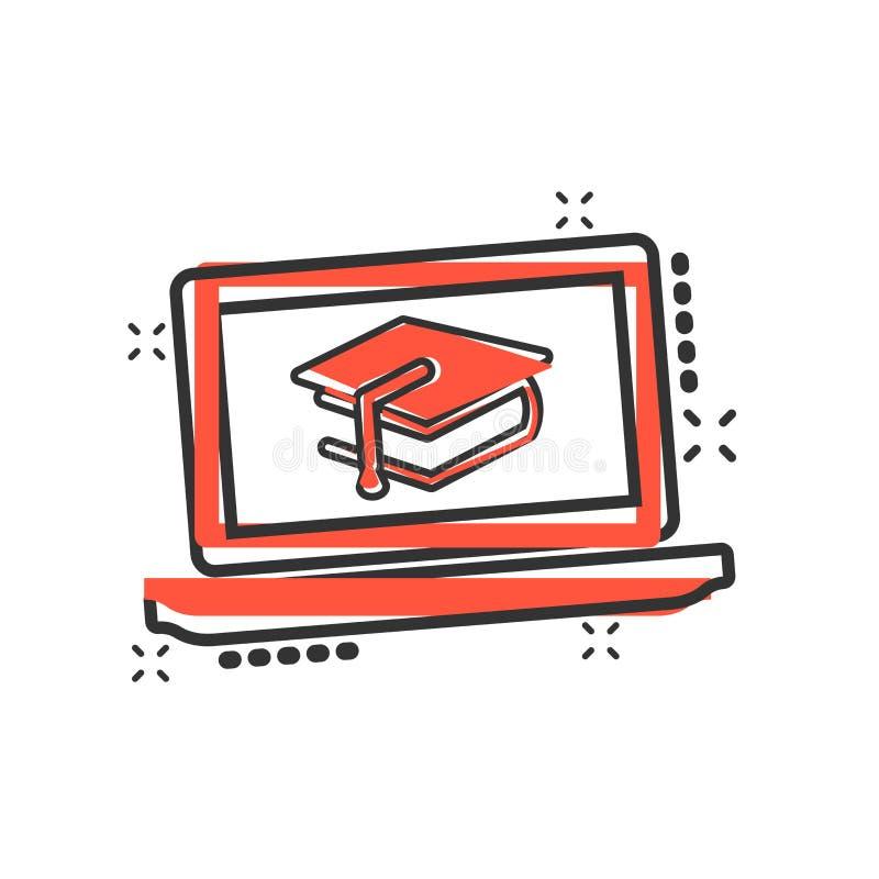 Elearning edukacji ikona w komiczka stylu Nauki kreskówki ilustracji wektorowy piktogram Laptopu onlinego szkolenia biznes ilustracji
