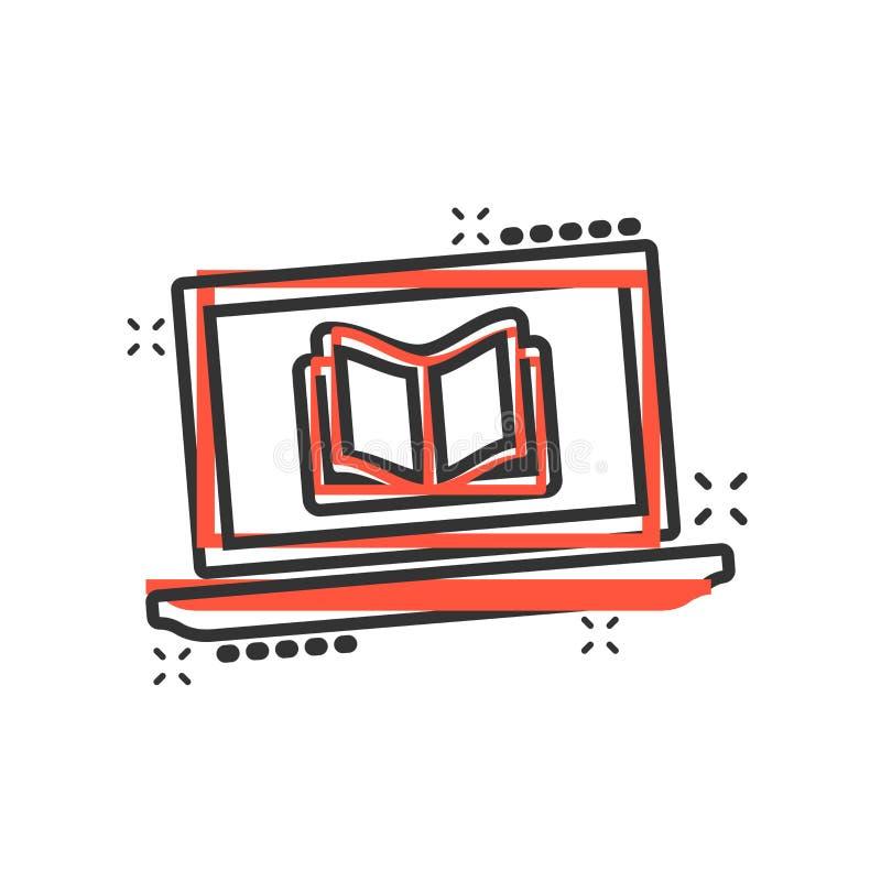Elearning edukacji ikona w komiczka stylu Nauki kreskówki ilustracji wektorowy piktogram Laptopu onlinego szkolenia biznes ilustracja wektor