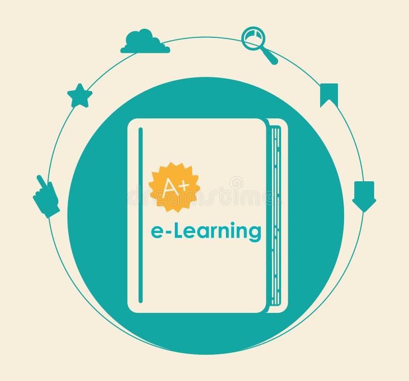Elearning en ebook ontwerp royalty-vrije illustratie