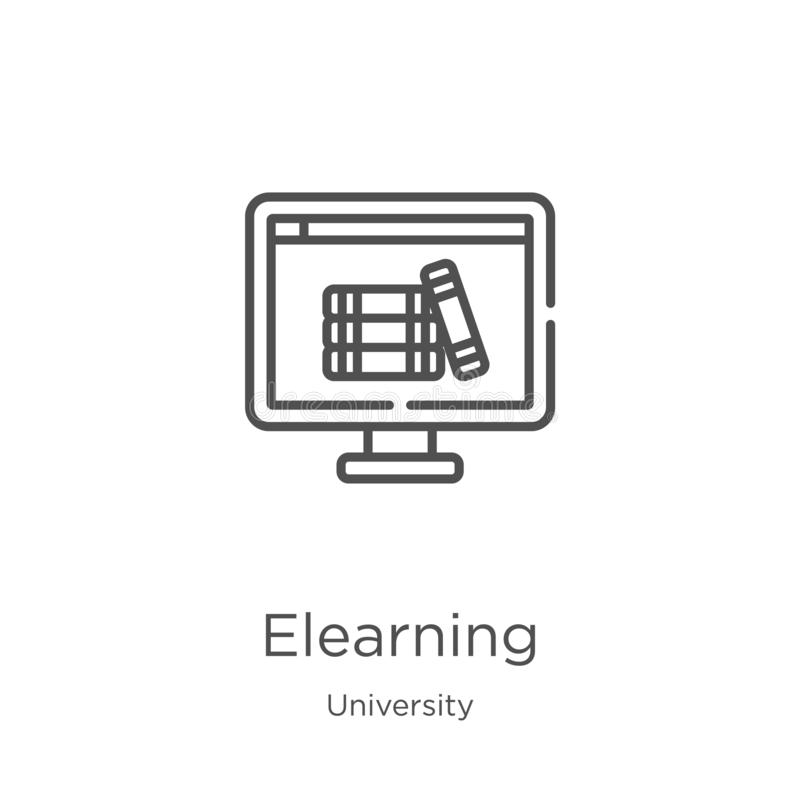 elearning icon vector from university collection. Thin line elearning outline icon vector illustration. Outline, thin line stock illustration