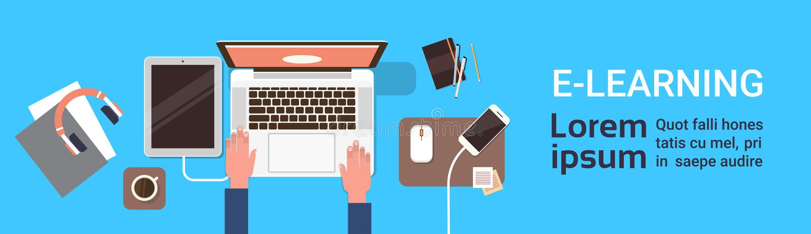 Elearning Online Education Banner With Student Hand Working On Laptop Computer Top View Horizontal Banner With Copy. Space Flat Vector Illustration royalty free illustration