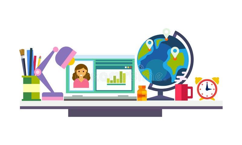 Elearning, online onderwijsproces, de werkruimte van de schoolstudent of werkplaats vectorillustratie stock illustratie