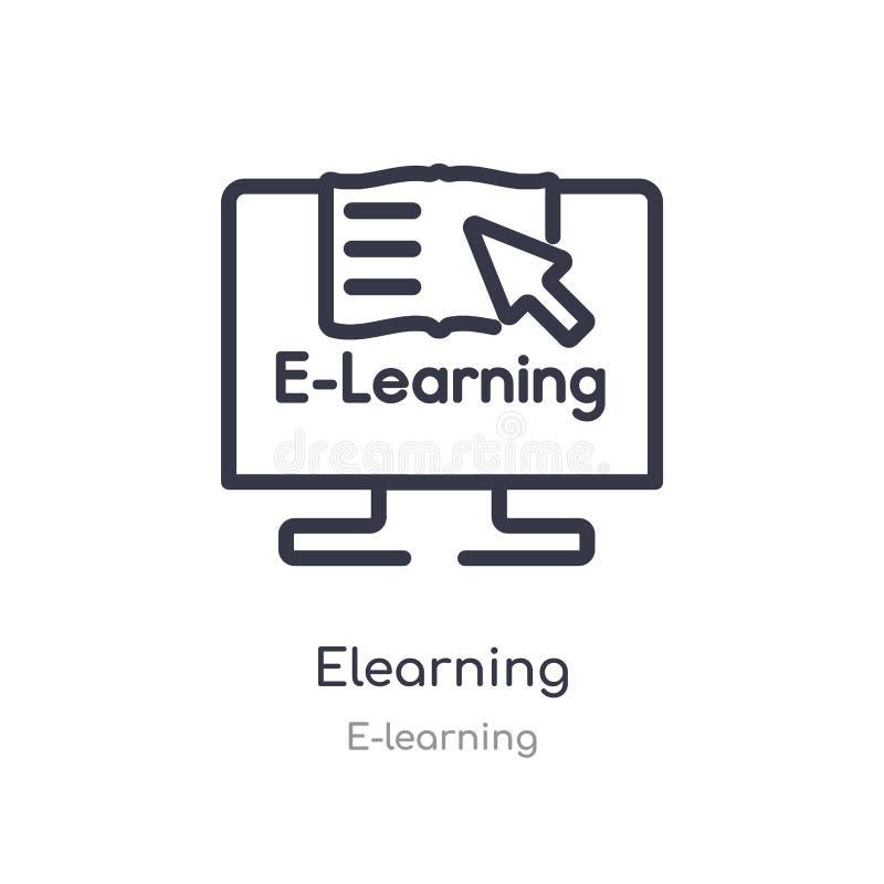 elearning overzichtspictogram ge?soleerde lijn vectorillustratie van e-lerende inzameling editable dun slag elearning pictogram o vector illustratie